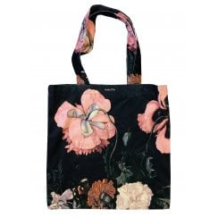 Vanilla Fly Velvet Tote Bag - Pink Flowers with Black