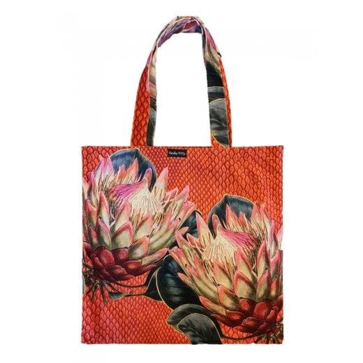 Vanilla Fly Velvet Tote Bag - Protea