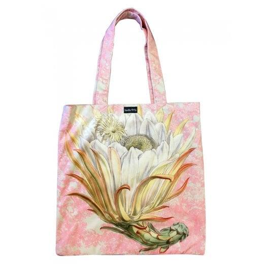 Vanilla Fly Velvet Tote Bag - White Flower and Pink Background