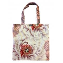 Vanilla Fly Velvet tote Bag - White Flowers and Pink Scales