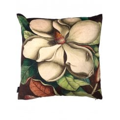Vanilla Fly White Magnolia Design Cushion (Including Deluxe Filling)