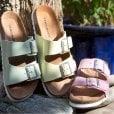 Vero Moda Leather Sandals with Buckle - Foxglove