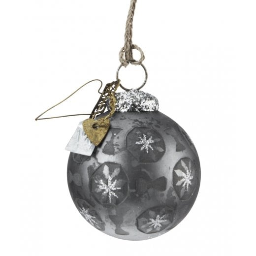 Walther and Co Grey with Glitter Stars Bauble