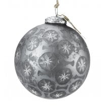 Walther and Co Large Grey with Glitter Stars Bauble