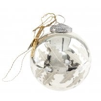Walther and Co silver Bauble with Holly Design