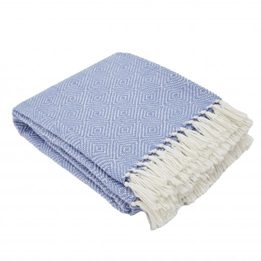 Weaver Green Diamond Blanket - Cobalt/White