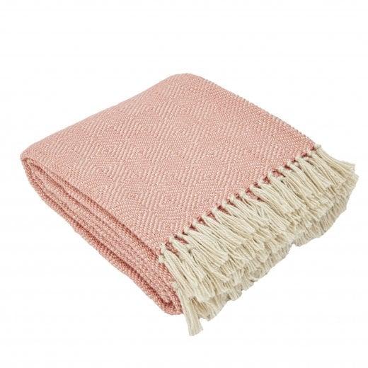 Weaver Green Diamond Blanket - Coral/White