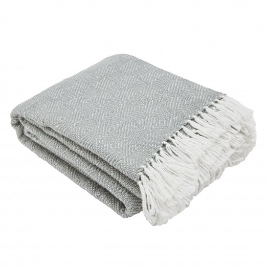 Weaver Green Diamond Blanket - Dove Grey/White